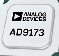 The AD9173 is a high performance, dual, 16-bit digital-to-analog converter (DAC) that supports DAC sample rates to 12.6 GSPS.  The device features an 8-lane, 15.4 Gbps JESD204B data input port,a high performance, on-chip DAC clock multiplier, and digital signal processing capabilities targeted at single-band and multiband direct to radio frequency (RF) wireless applications.