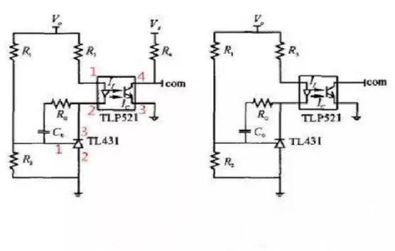 The common feedback optocoupler is the first connection