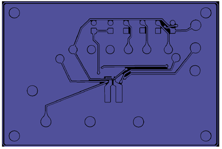 Evaluation board AP72200-EVM PCB design drawing: bottom layer